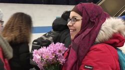 Women In Hijab Gifted Flowers At Scene Of Edmonton Hate
