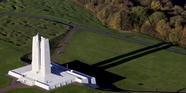 An aerial view shows Canadian National Vimy Memorial on Vimy Ridge, northern France November 1, 2015....