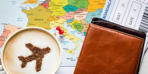 Europe map and airplane in cappuccino (made of cinnamon). Travel concept. Travel