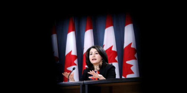 Canada's Democratic Institutions Minister Maryam Monsef speaks during a news conference in Ottawa, Ontario,...