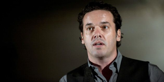 Canadian author Joseph Boyden gives a speech during the opening of the America literature festival at...