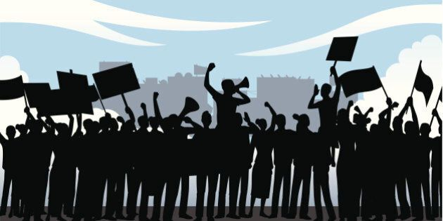 Illustration of a demonstration where demonstrators are waving flags & saying their demands out