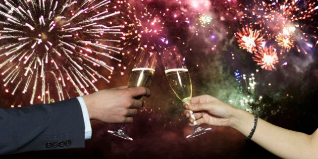 Couple toasting with
