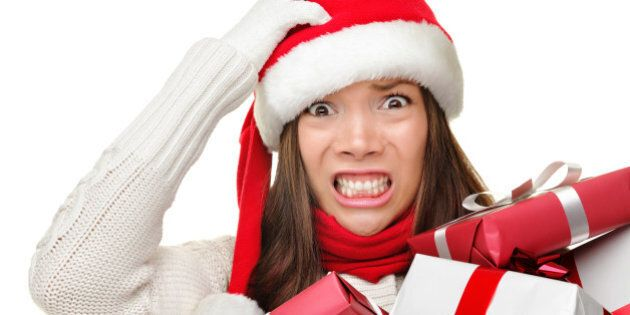 christmas stress   busy woman...