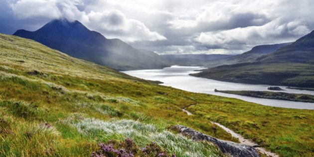 Scenic view of the lake and mountains, Inverpolly, Scotland, United
