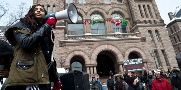 TORONTO, ON - APR. 4: The Black Lives Matter demonstration travelled to Ontario's Parliament building from Toronto Police Headquarters Monday. (Lucas Oleniuk/Toronto Star via Getty Images)