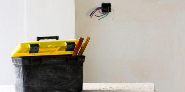 Plastic toolbox set on work