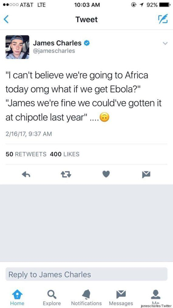 Covergirl's James Charles Says Africa Is A Country With Ebola, Sparks
