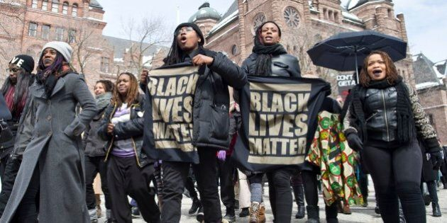 TORONTO, ON - APR. 4: The Black Lives Matter demonstration travelled to Ontario's Parliament building...