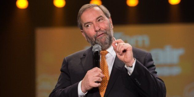 Canadian New Democratic Party (NDP) leader Tom Mulcair speaks at a rally in Montreal on October 18, 2015....