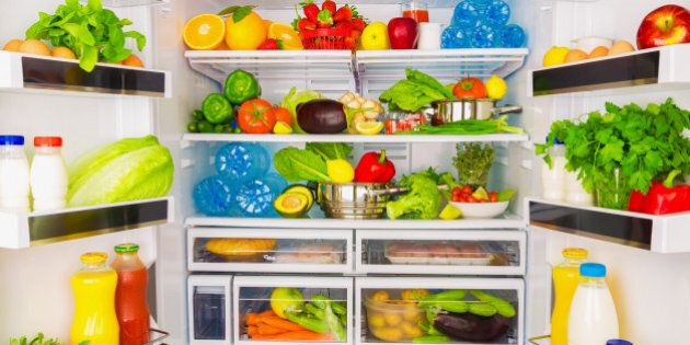 Open fridge full of fresh fruits and vegetables, healthy food background, organic nutrition, health care,...