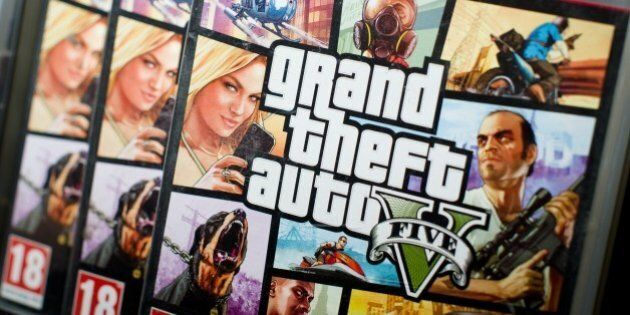 Close view of the packaging of the console game Grand Theft Auto 5 at the midnight opening of the HMV music store in central London on September 17, 2013.  One enthusiastic fan camped outside the store for three days.  AFP PHOTO / LEON NEAL        (Photo credit should read LEON NEAL/AFP/Getty Images)