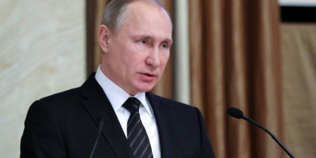 Russian President Vladimir Putin speaks during a meeting of the Federal Security Service's board in Moscow...
