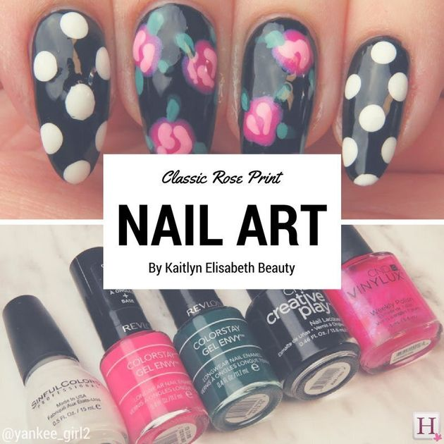 Nail Art: A Classic Rose And Polka Dot