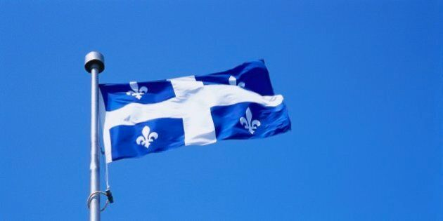 Quebecois Flag Billowing in the Blue