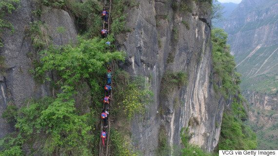 China School Commute: Students Get Steel Ladder To Help With Death-Defying