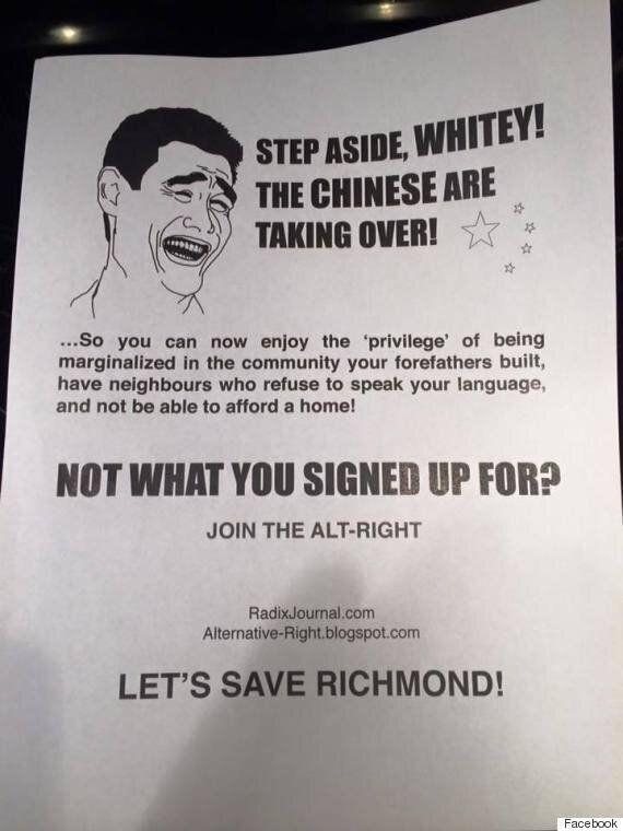 Richmond Racist Flyers Call On 'Whitey' To Save City From Chinese