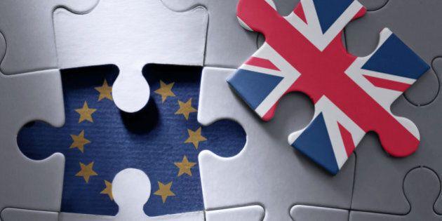 European flag jigsaw piece with British flag missing
