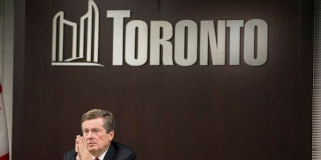 TORONTO, ON - OCTOBER 27:  Toronto Mayor John Tory attended meetings in the committee room as well as giving a press conference in his office. Tory has been in office two years.        (Bernard Weil/Toronto Star via Getty Images)