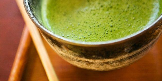 Matcha green tea in ceramic bowl