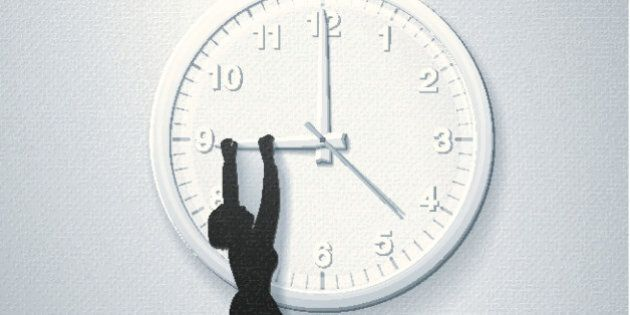 Beat the Clock!A stylized vector illustration of a business woman hanging off the hand of a clock. In...