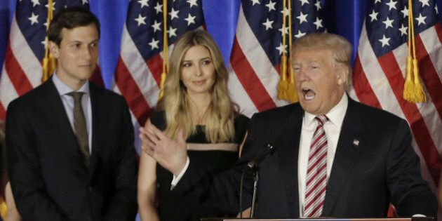 Republican U.S. presidential candidate Donald Trump speaks as his son-in-law Jared Kushner (L), daughter...