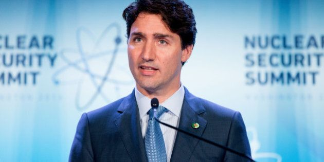 Canada Prime Minister Justin Trudeau speaks at a briefing at the Nuclear Security Summit at the Walter...
