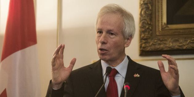 Canadian Foreign Minister Stephane Dion speaks during a joint press conference with his Egyptian counterpart...
