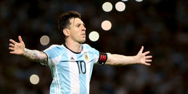 CORDOBA, ARGENTINA - MARCH 29: Lionel Messi of Argentina celebrates after scoring the second goal of...