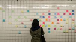 Torontonians Cover Subway Station With Trump Protest