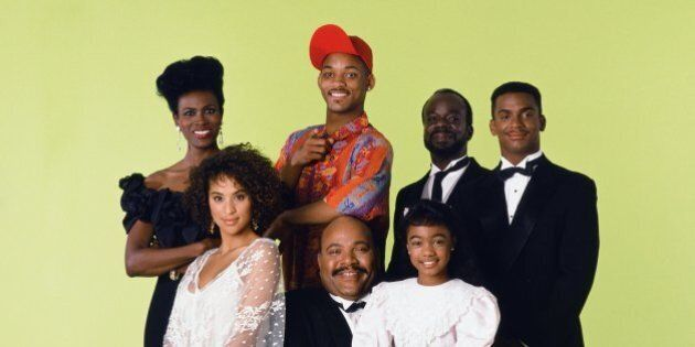 THE FRESH PRINCE OF BEL-AIR -- Season 1 -- Pictured: (front, l-r) Karyn Parsons as Hilary Banks, Banks,...
