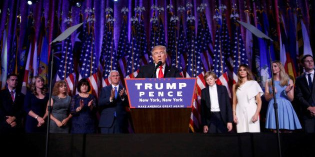 U.S. President-elect Donald Trump speaks at his election night rally in Manhattan, New York, U.S., November...