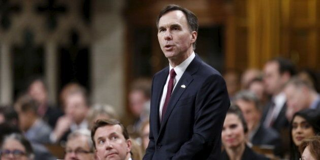 Canada's Finance Minister Bill Morneau delivers the federal budget in the House of Commons on Parliament...
