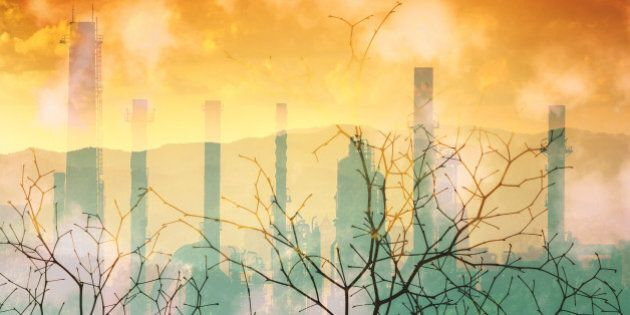Industrial pollution nature disaster concept, double