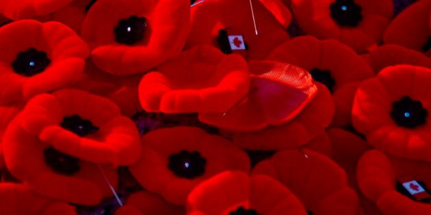 Remembrance Day Poppies, with Canadian Flag