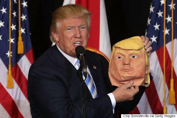 Donald Trump Lifts Donald Trump Mask At Rally Because Nothing Makes Sense
