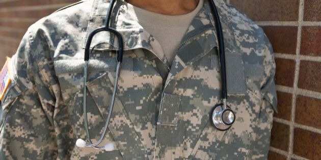 Military doctor with stethoscope