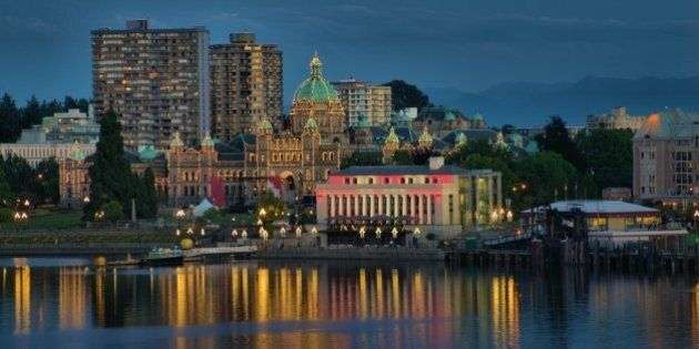 Night scene of Victoria BC Canada with Parliament building in