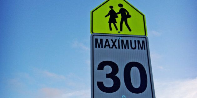 zone 30km/hr sign for school