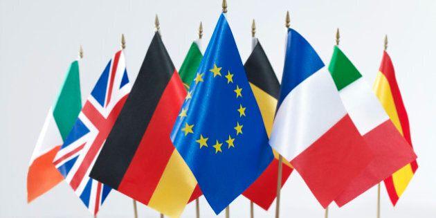 Euro flags on white