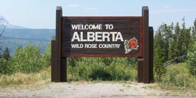 Entering Alberta, Canada from Montana, USA, between Glacier National Park (USA) and Waterton Lakes National...