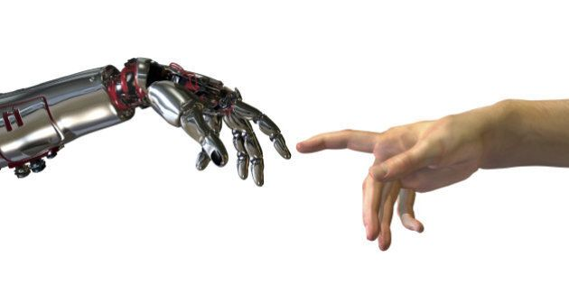 Robot and human hands almost touching - 3D render. A modern take on the famous Michelangelo painting...