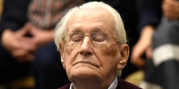 94-year-old former SS sergeant Oskar Groening listens to the verdict of his trial Wednesday, July 15,...
