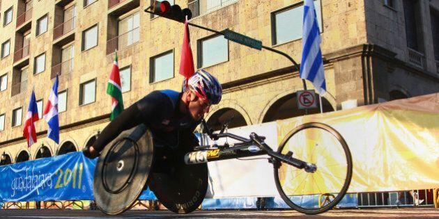 GUADALAJARA, MEXICO - NOVEMBER 20: Josh Swoverland of USA competes, in Mens Marathon T54 during the Para...