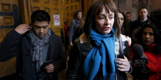 Actress Lucy DeCoutere, a complainant in the case against former Canadian radio host Jian Ghomeshi, leaves...