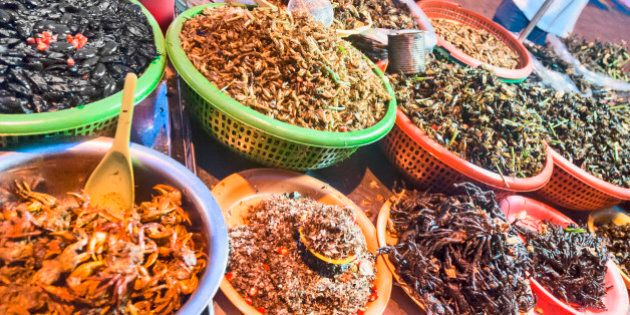 Deep Fried Insects For Sale A Street Market Stall In Phnom Penh,
