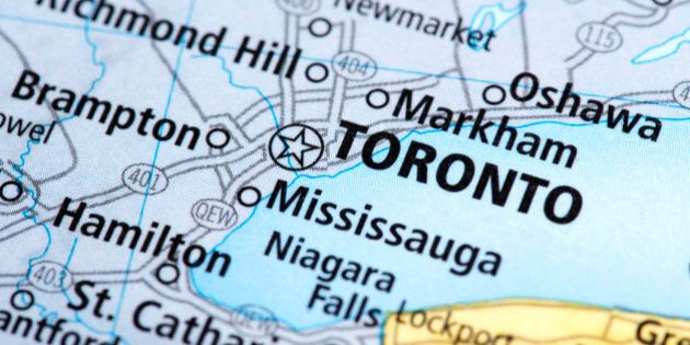 Map of Toronto in Canada. Detail from the World Map.