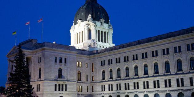 Saskatchewan Legislative Building at dusk in Regina Saskatchewan.
