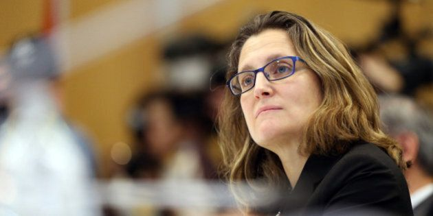 Chrystia Freeland the Minsiter of International Trade from Canada looks on as Ministerial Representatives...