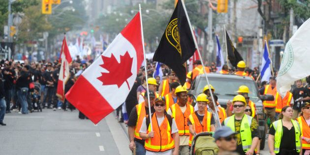 TORONTO, ON - SEPTEMBER 2 - The annual Labour Day Parade was held today starting at University and Queen...